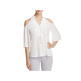 Love Scarlett Womens Peasant Top Ribbed Knit Embroidered