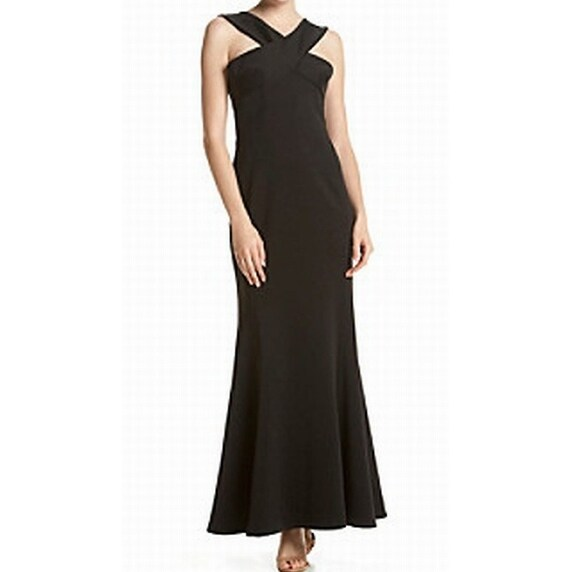Calvin Klein New Black X Front Scuba Womens Size 16 Ball Gown Dress
