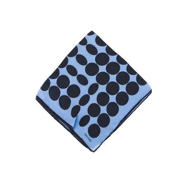 Tom Ford Sky Blue Abstract Circle Silk Pocket Square