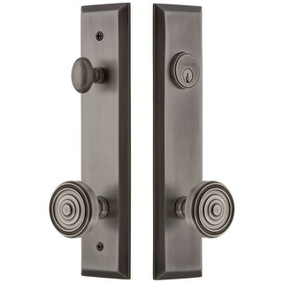 """Grandeur FAVSOL_TP_ESET_234  Fifth Avenue Solid Brass Tall Plate Single Cylinder Keyed Entry Set with Soleil Knob and 2-3/4"""""""