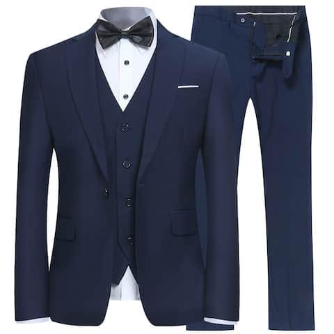 Men's Slim Fit 3 Piece Suit One Button Blazer Tux Vest &, Navy, Size Small