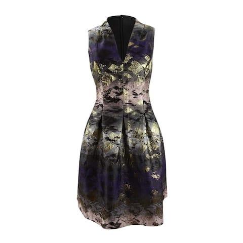 Vince Camuto Womens Metallic Jacquard Fit & Flare Dress