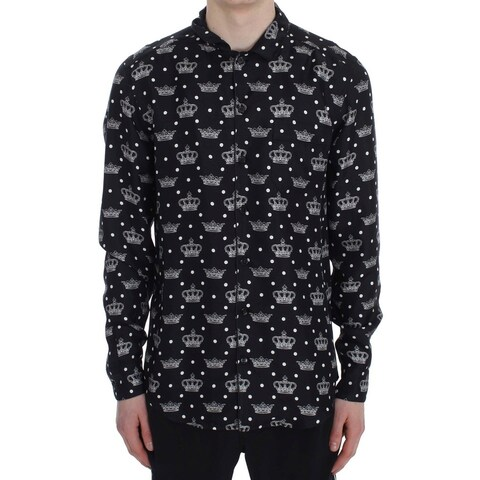 Dolce & Gabbana Dolce & Gabbana Black Crown Print Silk Pajama Shirt - S