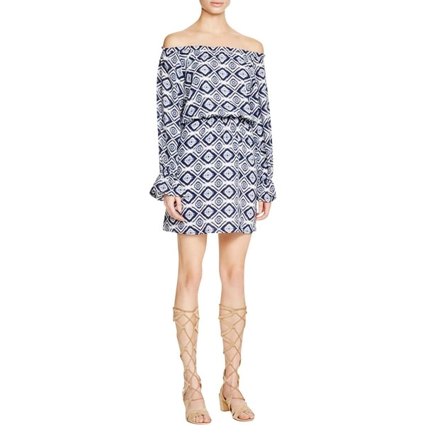 Aqua Womens Casual Dress Printed Off-The-Shoulder