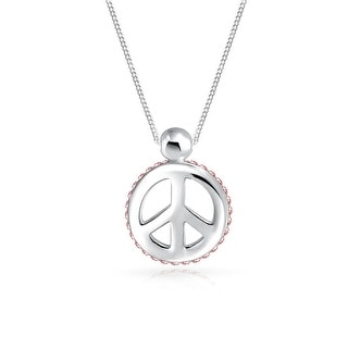 Bling Jewelry Pink Crystal Peace Sign Pendant Sterling Silver Necklace 18 Inches