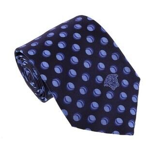 Versace Blue Woven Decorative Circle Tie