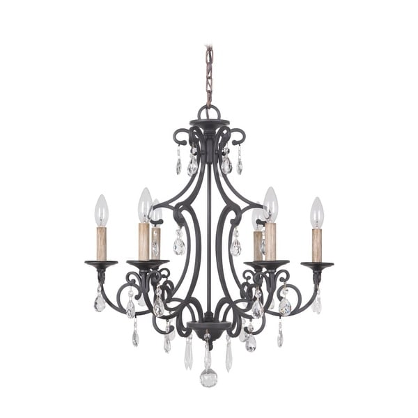 Jeremiah Lighting 38926 Bentley 6 Light Candle Style Chandelier - 22 Inches Wide - MATTE BLACK