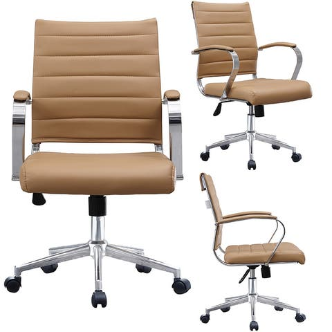 Tan Office Chairs Mid Back Ribbed PU Leather Conference Room Home Office Boss Chrome With Arms Wheels Work