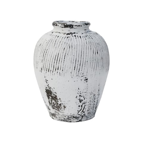 Lily's Living Small Vintage Pot with White Paint, 10 Inch Tall, Off White (Size & Finish Vary)