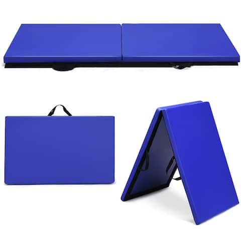 Costway 6''x 2'' Gymnastics Yoga Mat Thick Two Folding Panel Gym Blue