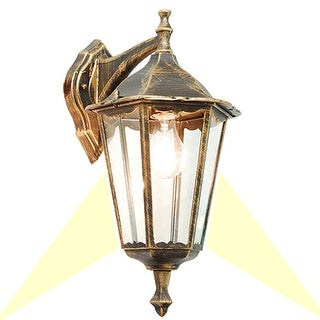 eTopLighting Golden Black Finished Exterior Light Fixture - Wall Lantern