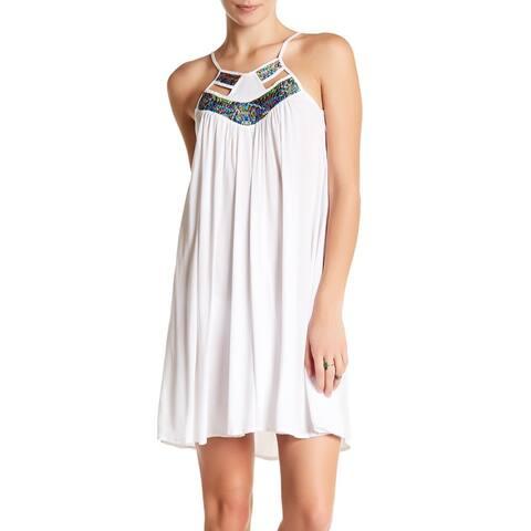 Saha Women Swimwear White Size Large L Dress Cover Up Embroised Neckline