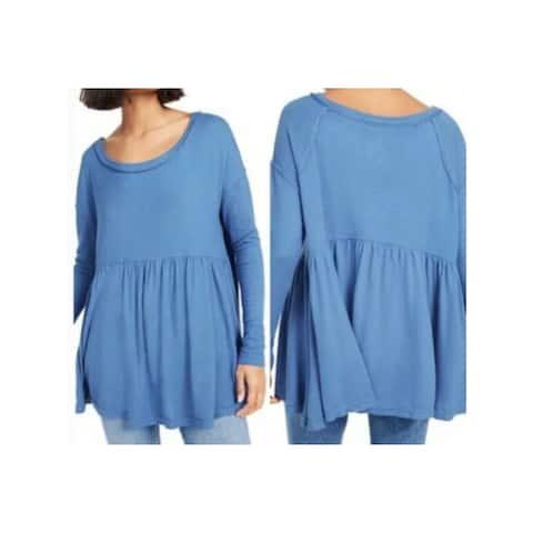 FREE PEOPLE Womens Blue Long Sleeve Jewel Neck Top Size XS