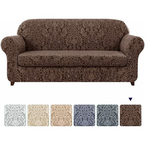 Subrtex 2-Piece Stretch Loveseat Couch Cover Jacquard Damask Slipcover