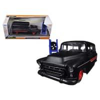 1957 Chevrolet Suburban Matt Black / Red Just Trucks with Extra Wheels 1/24 Diecast Model Car by Jada