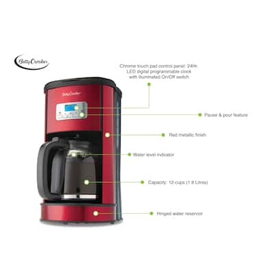 Red metallic 12-cup digital coffee maker