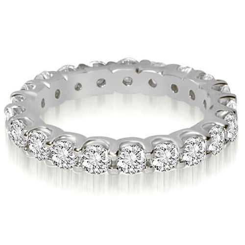 14K White Gold 2.80 cttw. Round Shared Prong Diamond Eternity Ring HI,SI1-2