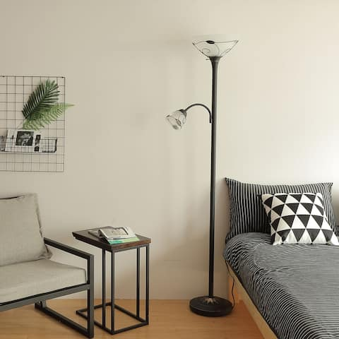 "CO-Z 71"" 3-Way Torchiere Floor Lamp with Adjustable Side Reading Light - Dark Bronze"