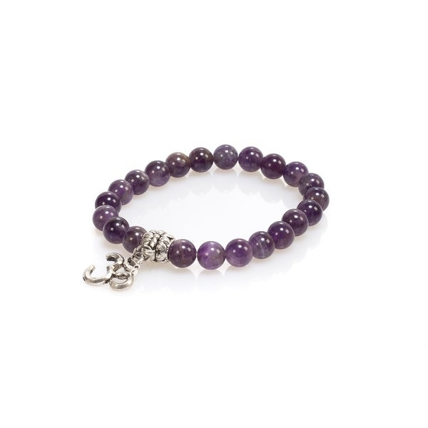Natural Stone Meditation Stretch Bracelet Tibetan Mala with Good Luck Om Charm, Amethyst, Purple