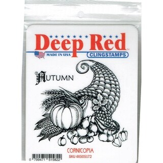 Deep Red Stamps Cornicopia Rubber Cling Stamp - 3.2 x 3