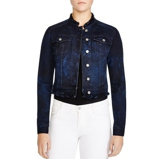 Elie Tahari Womens Meggie Denim Jacket Lace Back Collarless