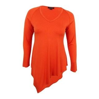 Karen Kane Women's Asymmetrical V-Neck Tunic (L, Pumpkin) - l