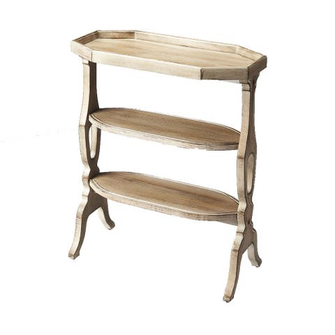 Offex Distressed Solid Rubberwood Accent Table in Driftwood Finish
