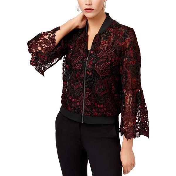 Kobi Womens Toryn Bomber Jacket Lace Bell Sleeves