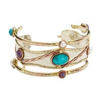 Women's Stone-Studded Metal Cuff Bracelet - Turquoise, Amethyst, and Faux Pearls - bronze