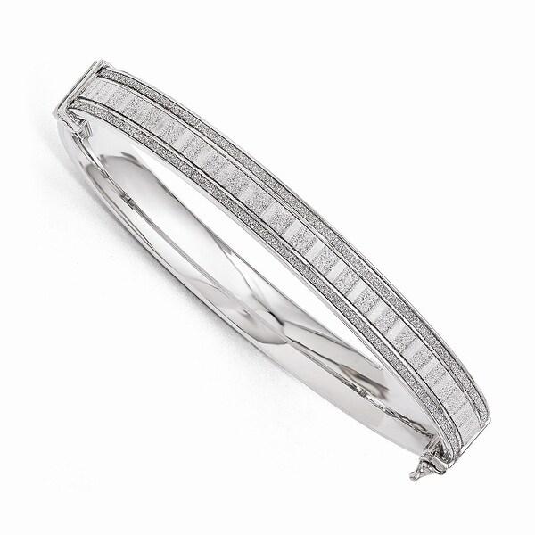 Italian Sterling Silver Polished Glimmer Infused Bracelet