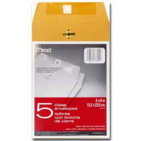 "Mead 76010 Clasp Envelopes, 6-1/2"" x 9-1/2"", 5-Pack"