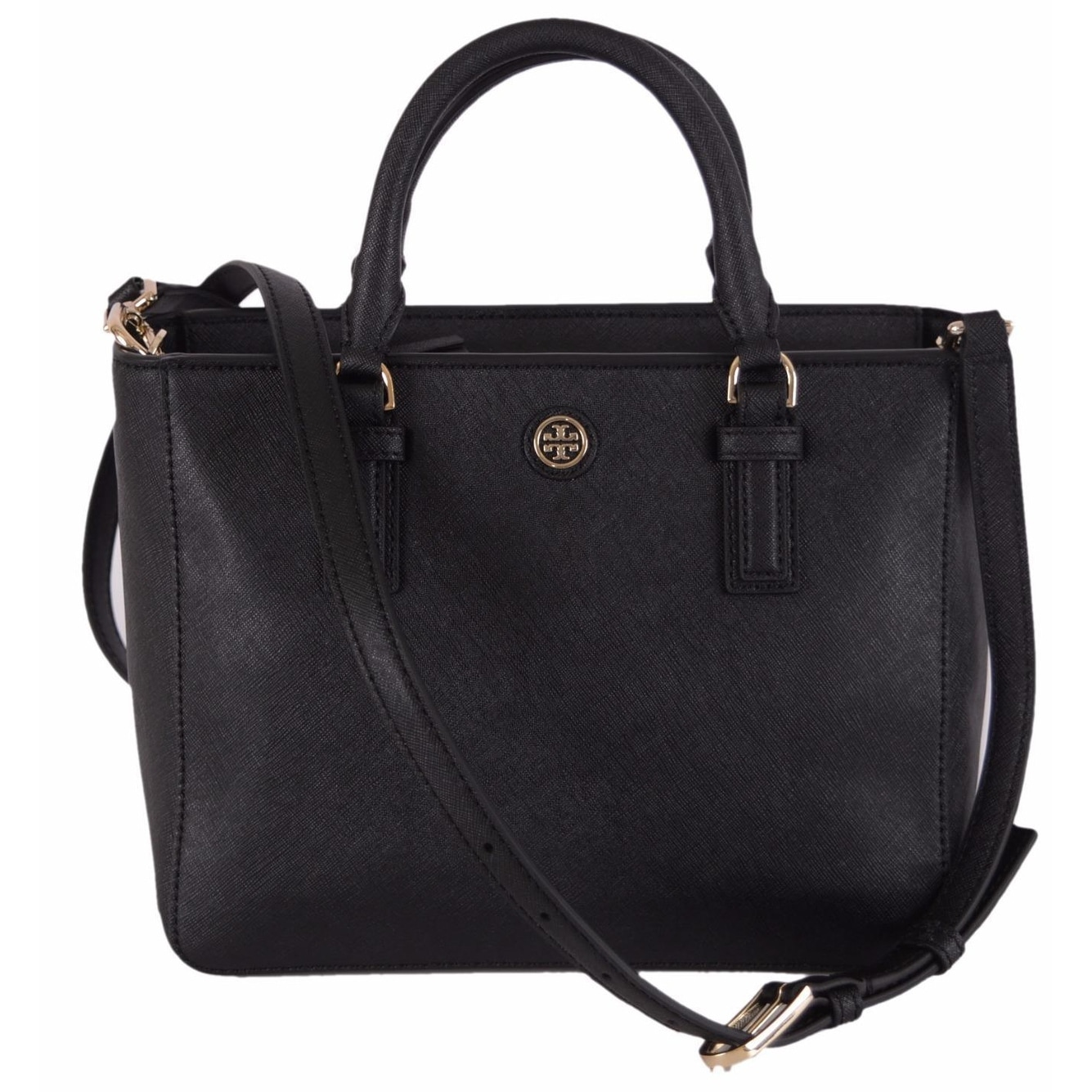 65e18083f27 Tory Burch 41159710 Black Saffiano Leather Robinson Mini Square Tote Purse  - 9.36