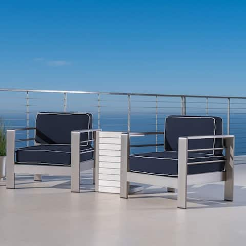 Cape Coral Outdoor Chat Set with C-Shaped Table by Christopher Knight Home