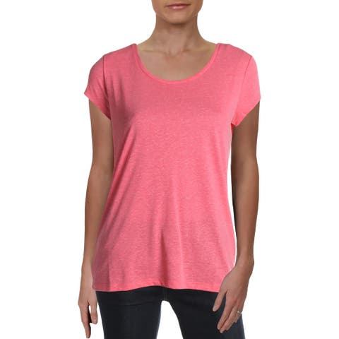 French Connection Womens T-Shirt Linen Blend Jewel Neck - Cosmo