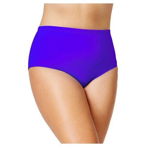 RALPH LAUREN Women's Plus Size Tummy Control High-Waist Bikini Bottoms, Purple (20W)