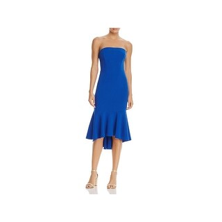 Black Halo Womens Cali Party Dress Strapless Mid-Calf