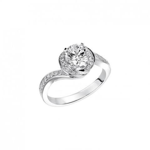 Frederick Goldman APHRODITE Platinum 0.50 CT Lab-Created Diamond Spiral Halo Engagement Ring Pav