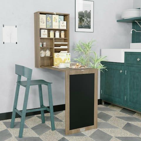 3 in 1 Fold-Out Floating Desk Wall-Mounted Laptop Desk w/Storage Shelves