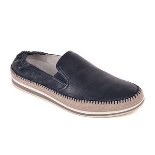 Prada Men's Navy Leather Slip On Braided Sidewall Loafers