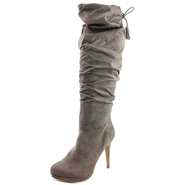 Thalia Sodi Brisa Women Round Toe Suede Gray Over the Knee Boot