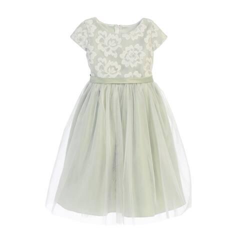 df7d9ac9a Sweet Kids Little Girls Sage Floral Sponge Mesh Tulle Flower Girl Dress