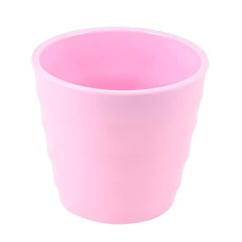 Unique Bargains 8.5cm High 95mm Dia Pink Striped Plastic Garden Plants Flowers Pot Holder Case