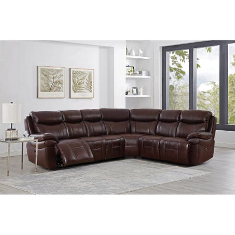 Hydeline Springdale Leather Power Reclining Sectional Sofa