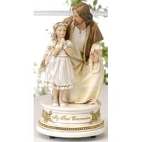"""Pack of 2 Joseph's Studio Jesus with Girl Musical First Communion Figures 7.25"""" - White"""