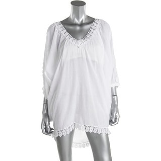 OndadeMar Womens Cotton Crochet Trim Swim Top Cover-Up - L