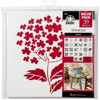 "FolkArt Paper Stencil Value Pack 12""X12"" 26/Pkg-Flowers - Flowers"