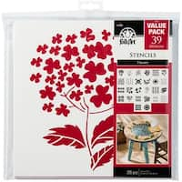 "Folkart Paper Stencil Value Pack 12""X12"" 26/Pkg-Flowers"