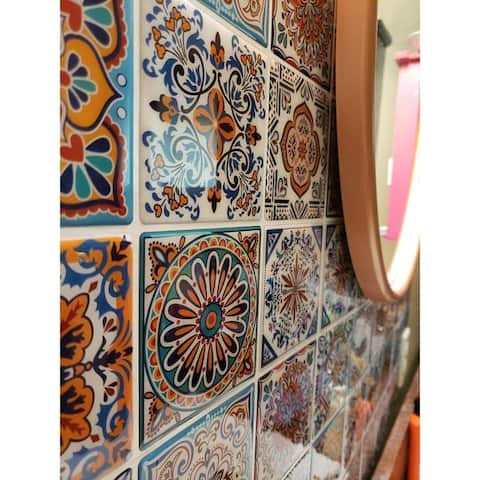 Peel and Stick Backsplash Tile Stickers, Colorful Talavera Mexican Tile, Stick on Wall Tiles (10 Sheets)