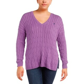 Polo Ralph Lauren Womens V-Neck Sweater Cable Knit Ribbed Trim
