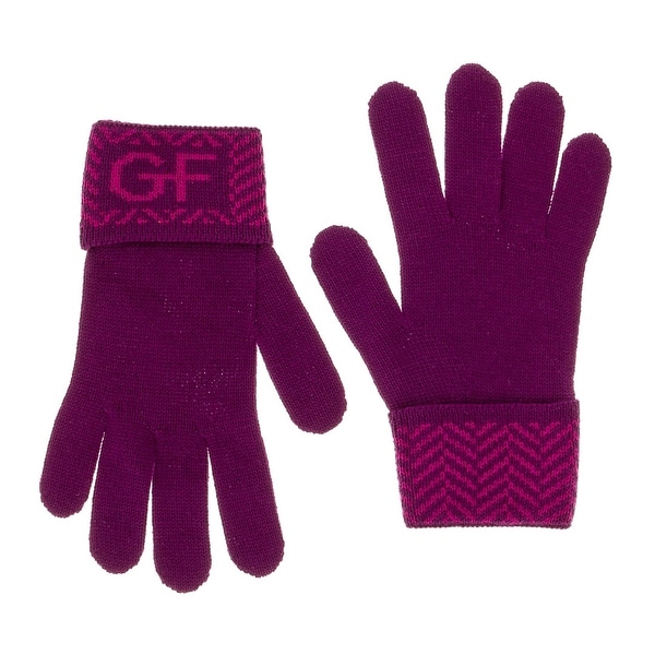 Gianfranco Ferre GUA 01040/1 Purple  Wool Blend Knitted Gloves